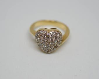 Diamond studded heart ring 14karat gold
