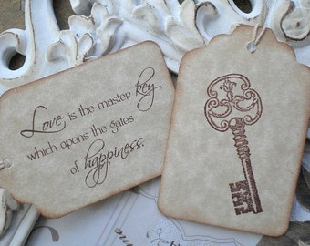 Love Quote & Skeleton Key Wedding Favor Tags (10) Wedding Favor Tags-Bridal Shower Tags-Key Gift Tags-Love Quote Tags-Master Key Tags