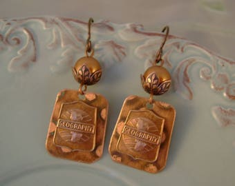 National Geographic - 1930s School Pins Geography Anodized Copper Pearls Recycled Repurposed Jewelry Earrings, Great Teacher Gift