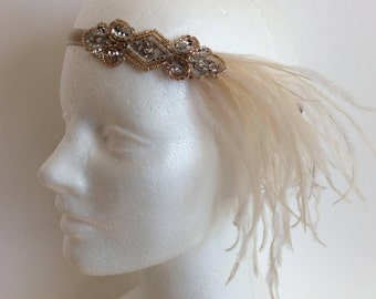 Great Gatsby Headband, Champagne 1920s headpiece, Ostrich feathers fascinator, bridal wedding, prom Gatsby dress hair accessories Flapper
