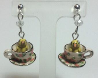 Chick Teacup Earrings