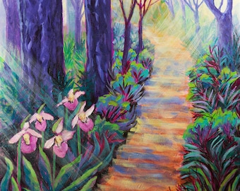 Path in the Woods, 16 x 16 Stretched Canvas Print of an Original Acrylic Painting, Ready to Hang, Forest Landscape, Lady Slippers