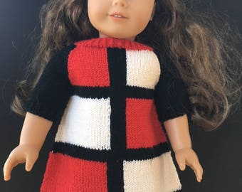 Dress for 18-inch dolls, Doll clothes, Hand knit doll dress, Gifts for girls, Doll dress, Handmade doll clothes, 18 inch doll dress, AG doll