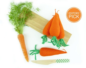 Crochet carrot, play pretend carrot, crocheted carrot, handmade crochet vegetable, baby crochet toy, grocery, play food soft toy (1 pc)