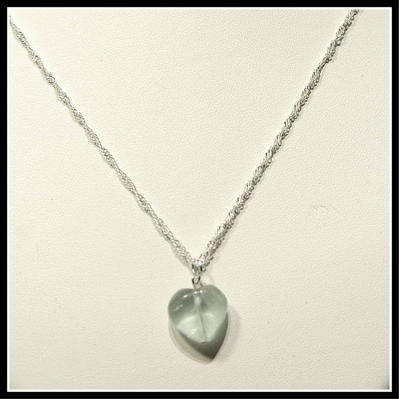 Aventurine Heart with Necklace Sterling Silver 925 Chain, Dove Collection, Necklace Heart Chakra Against Energetic Vampires, Jewelry Heart