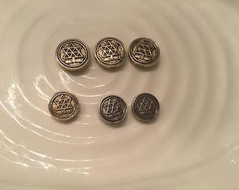 Uniform Buttons - 5 vintage gold and silver metal shank buttons - Canada Centennial
