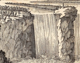 The Fall of Niagara, Vintage Engraving, 18th century