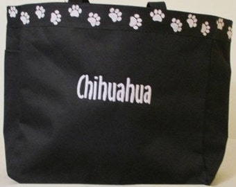Chihuahua Tote Bag, Carrier, Personalized, Embroidered