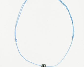 Sky blue nylon cord necklace and 8/9 mm Tahitian Pearl