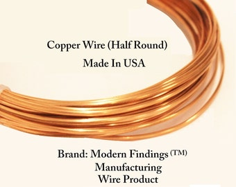 Half Round Copper Wire (Half Hard ) Choose 12,14,16,&18 Ga, Jewelry , craft , Hobby , Wire