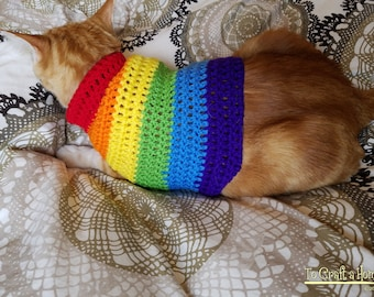 Rainbow Cat Sweater-Cat Sweaters- Cat Clothes- Cat Shirt-Pet Sweaters