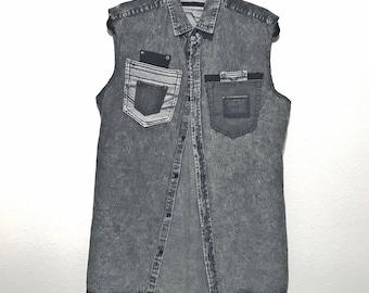 Stylish Black Denim Sleeveless oxford shirt (Fitted Large)
