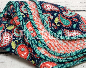 Baby quilts handmade faux chenille quilt baby girl blanket floral paisley soft la vie boheme navy coral turquoise aqua olive