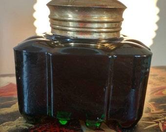 Vintage Heavy Green Glass Inkwell Jar