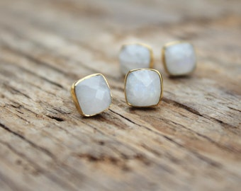 Rainbow Moonstone Gold Stud Earrings