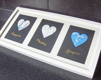 3 Heart Map Location, Map heart art, Wedding gift for couple, Valentine's Gift, Custom engagement art, Map co-ordinates, Custom wedding gift