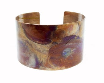 "Boho Cuff Bracelet, Copper Cuff, Artisan Jewelry, Earthy Colors, Girlfriend Gift, 1 1/2"" Cuff, Ready to Ship"