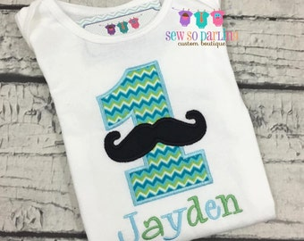 Boy green and blue Mustache Shirt - Boy mustache 1st Birthday outfit - 1st Birthday Little Man Birthday Outfit - 1st Birthday Outfit