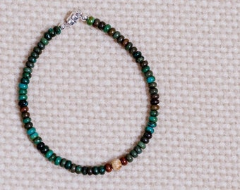 Turquoise, green 4mm round beads, jasper center bead, sterling silver magnetic clasp