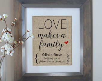 Adoption Gifts | Love Makes a Family Adoption Gift | Adoption Gift Print | Personalized Family Gift for Adoption Day | Adopting Baby Gift