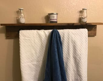 Industrial double towel bar shelf
