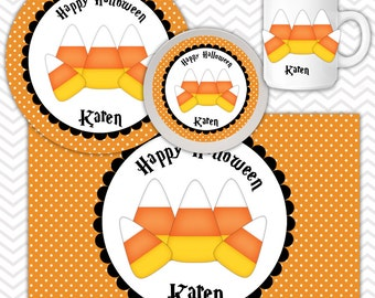 Candy Corn Pumpkin Plate & Bowl Set - Personalized Candy Corn Plate Set - Customized Plate and Bowl - Melamine Plate and Bowl Set for Kids