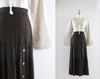 tiered maxi skirt / chocolate