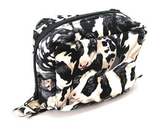 Essential Oil Case Holds 6 Bottles Essential Oil Bag Black and White Cows