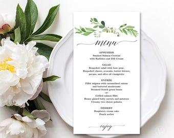 Wedding Menu Template, Printable Greenery Floral Menu Template, Editable, Garden Greenery, VW30