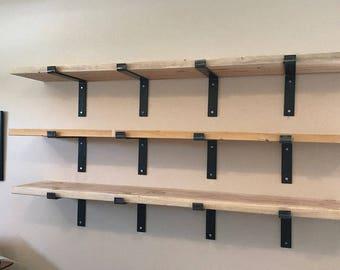 11 inch deep x 2 wide x 1/4 thick  Steel shelf bracket, Rustic shelf bracket, Industrial shelf bracket, Handmade shelf bracket