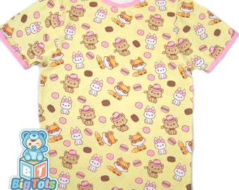 Adult Baby cats,bunny's & fox's snap shoulder baby shirt ABDL