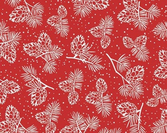 "Pinecones Fabric, Christmas Fabric:Winter Wonderland - Pine Cones on RED  100% cotton fabric by the yard 36""x43"" (SC757)"