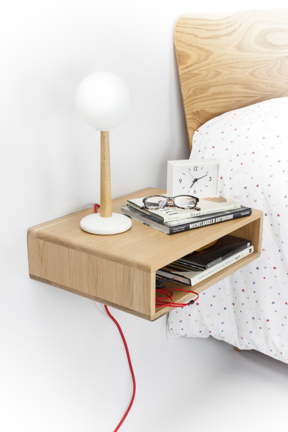 Floating Wood Nightstand Bedside Table Drawer