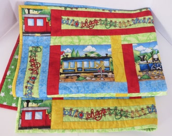 Train Baby Quilt, Red Green Blue Yellow Baby Quilt, Nursery Crib Quilt, Toddler Throw Quilt, Playmat, Baby Shower Gift
