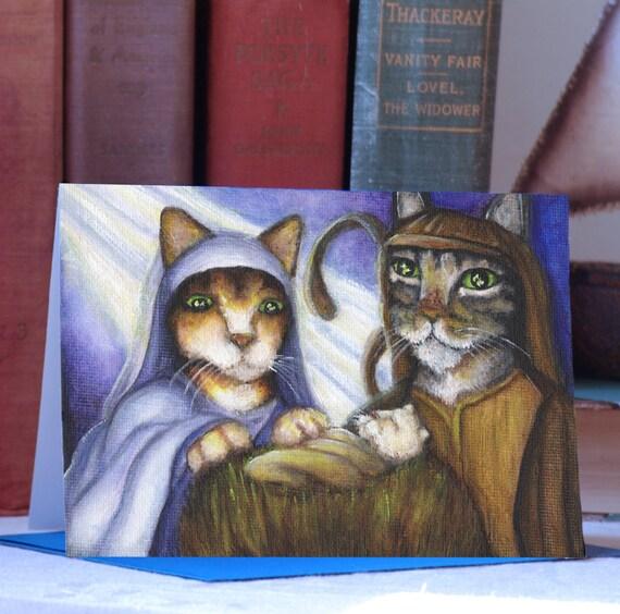 Feline Nativity Christmas Card