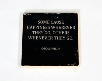 OSCAR WILDE Happiness Quote Stone Coaster (1 Black and White Oscar Wilde Coaster) Black and White Home Decor