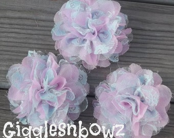 SALE!! SPRiNG PaSTeLS- Light Pink w Light Blue LaCE- Set of 3 Gorgeous Shabby Chic Frayed Chiffon and Lace Rose Flowers- 3.5 inch