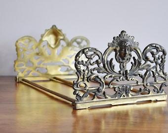 Expandable Brass Judd Goddess Diana Bookends, Antique Judd Telescoping Book Rack, Art Nouveau Book Holder Display Desk Office Bookend Set