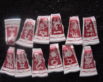 Mosaic Tiles Vintage Broken Plate Zodiac Signs Astrology  Supply Hand Cut Pieces Shards Tesserae