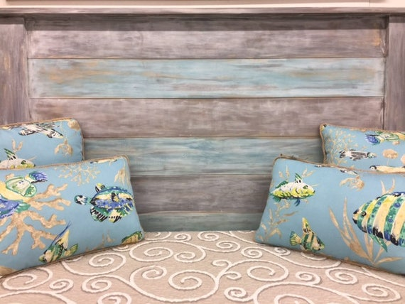King headboard Gray Blue bedroom furniture coastal living
