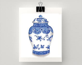 REPRODUCTION PRINT - Blue and white Ginger Jar - Blue and white - print of my original watercolour painting code: SPG015