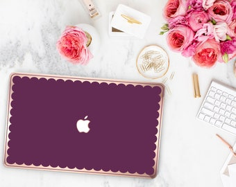 Macbook Pro 13 Case Macbook Air Case Laptop Case Macbook Case . Purple Davenport and Scallop Rose Gold Chrome Edge