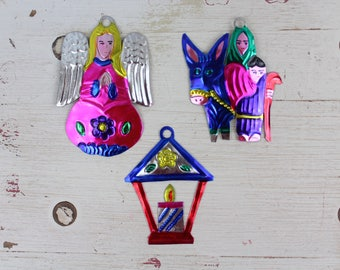 Handmade Mexican Tin Ornaments (Set of 3) Vintage Christmas Tree-Fiesta-Xmas-Gift Ideas-Holiday-Southwest-Coco-Amor-Folk Art-Handcrafted-113