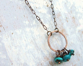 Genuine Turquoise Necklace.  Turquoise & Copper Circle Necklace. Turquoise Jewelry. Rustic Jewelry. Turquoise Charm Necklace