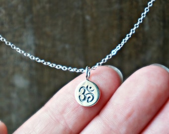 Silver Om Necklace / Tiny Ohm Symbol Disc Pendant on a Sterling Silver Chain ... Yoga Jewelry