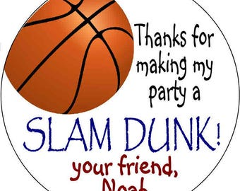 24 printed Basketball Birthday Party Stickers 1.67 inch Round Personalized kids