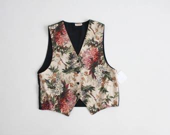 floral vest | 90s floral vest | floral tapestry vest