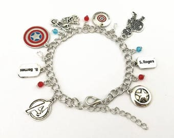 Captain America / Winter Soldier inspired charm bracelet