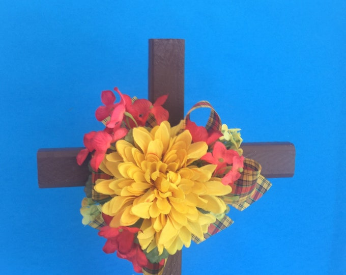 Cemetery cross, grave decoration, memorial cross, Floral Memorial, grave decoration, in memory of, roadside memorial, memorial