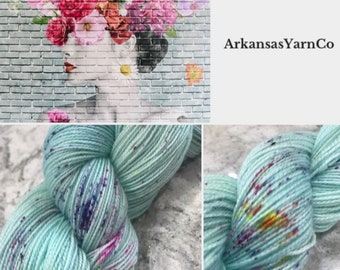 Graffiti Bouquet/Sparkle yarn/Hand Dyed Yarn/Indie Dyed Yarn/Knitting/Crochet/Sock Yarn/Shawl yarn/SW Merino Nylon/speckle yarn/ArkansasYarn